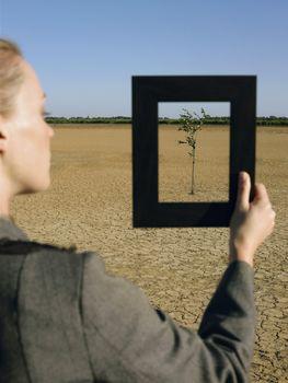 Businesswoman framing tree in desert back view