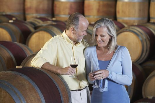 Loving middle aged couple tasting red wine in cellar