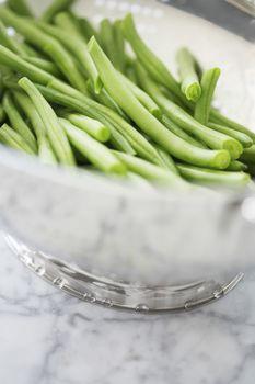 Closeup of bowl of runner beans