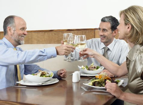 Successful businesspeople toasting drinks in restaurant