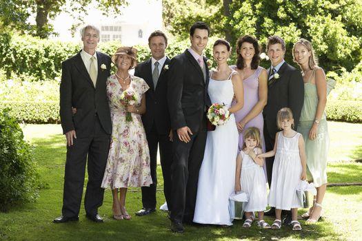 Group portrait at wedding