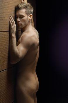 Nude man indoors portrait
