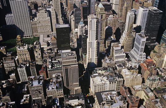 Elevated view of city with skyscrapers