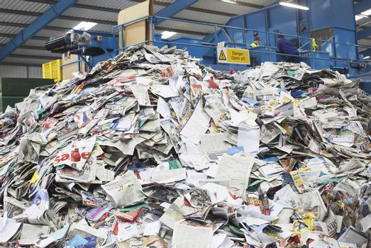 Pile of recycled papers in factory