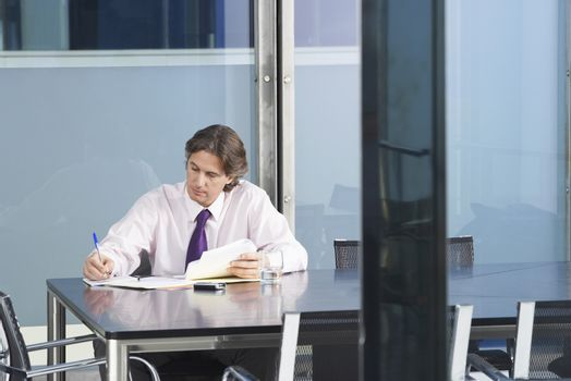 Young businessman with paperwork at conference table