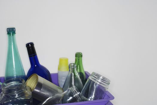 Recycling Container Filled With Jars And Bottles