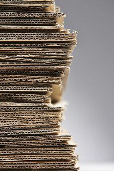 Pile of corrugated cardboard close-up