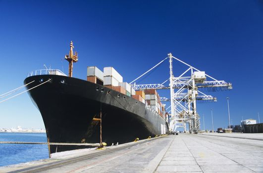 Container ship in docks
