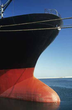 Bulbous bow of stationary ship