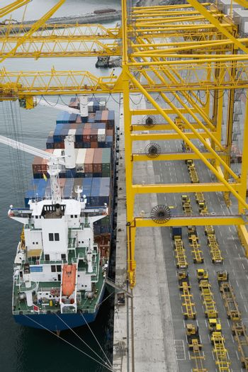 Container ship in docks elevated view