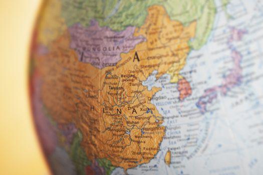 Closeup of political globe showing China