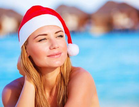 Woman celebrate Christmas on Maldives