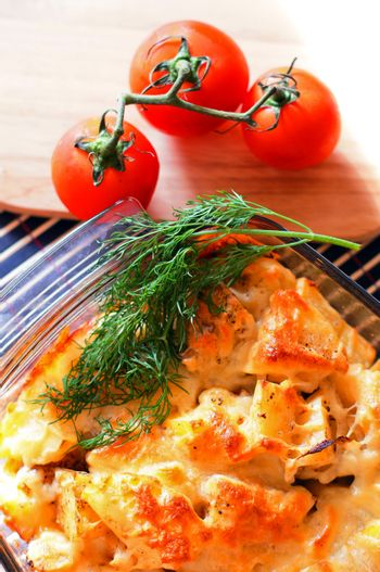 scalloped potatoes in the pan