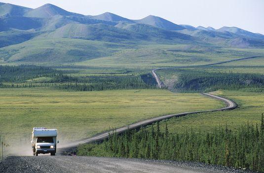 Camper van on rural road