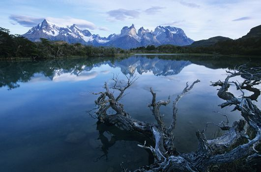 Tranquil lake in mountains