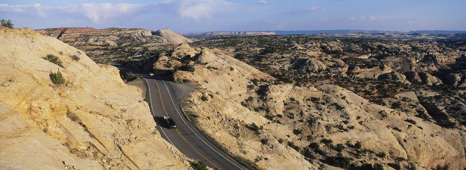 USA Utah car on road through desert