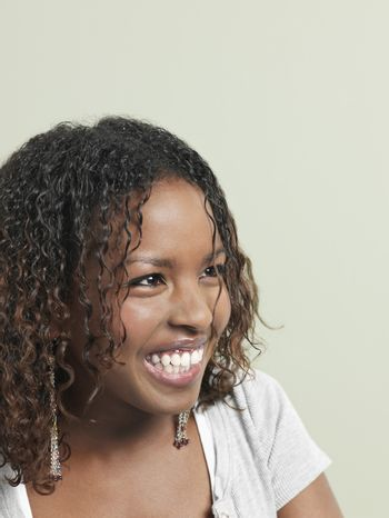 Young woman laughing close-up