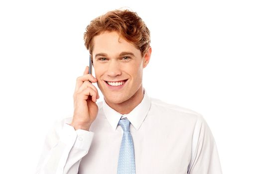Smiling corporate communicating with client