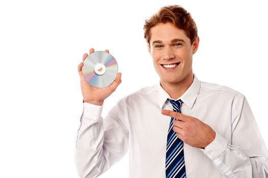Manager showing compact disc