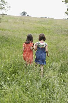Rear view of little girls walking together in grassy field