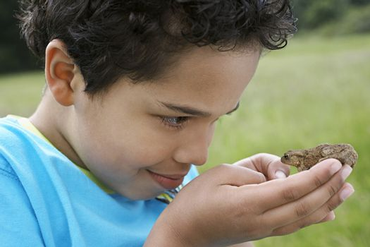 Closeup of young boy observing toad outdoors