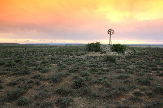 Water Pump Windmill on Arid Farmland