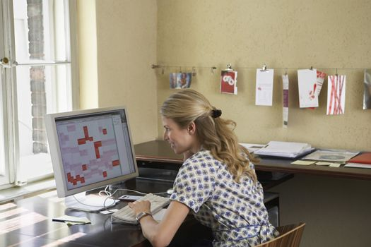 Rear view of a young woman using computer in the office