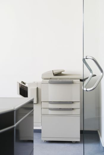 Closeup of a photocopier in the office
