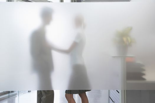 Side view of a female office worker touching male colleague behind translucent wall in office