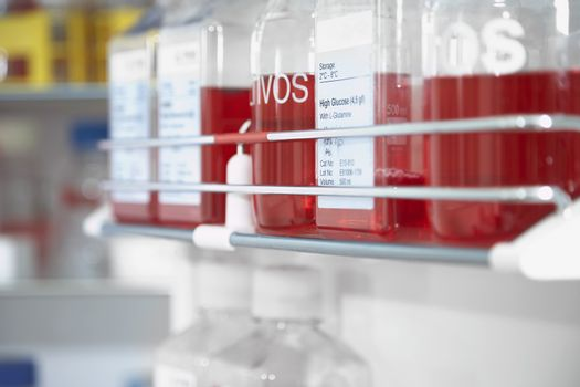 Closeup of red chemicals on shelf in the laboratory