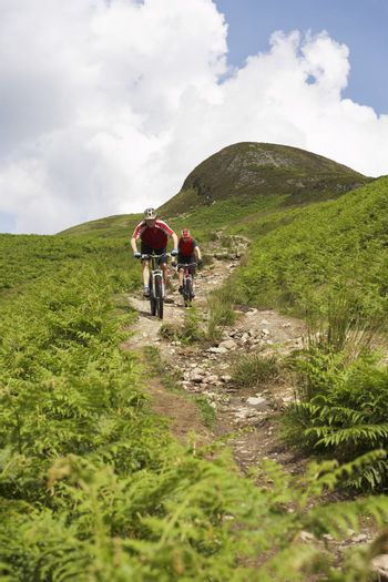 Two cyclists on track in countryside
