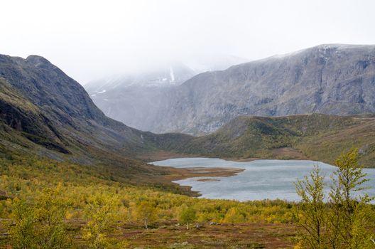 Scenic mountain lake in Scandinavia