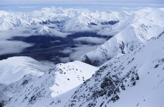 Snow-covered mountain range elevated view