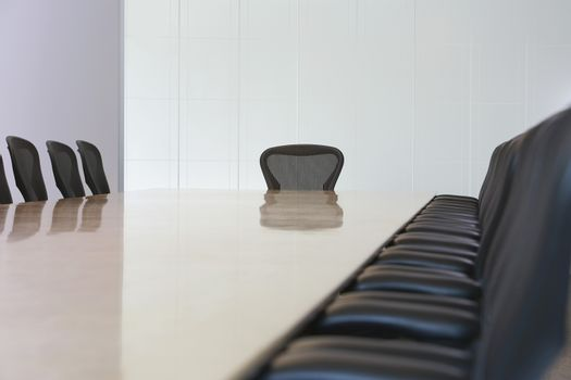View of an empty boardroom with seats