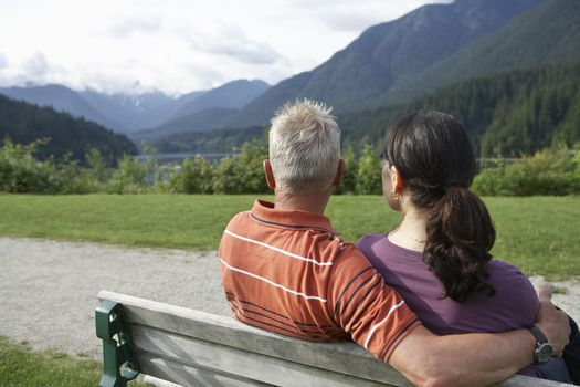 Couple sitting on bench looking at view back view