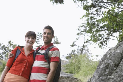 Couple embracing in countryside portrait