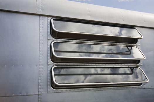 Caravan window close-up