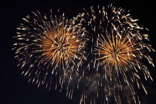 Fireworks bursting against dark sky