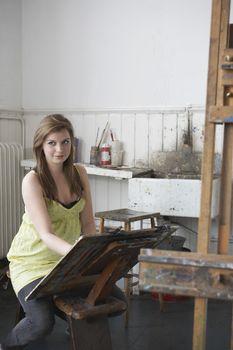 Artist drawing in studio