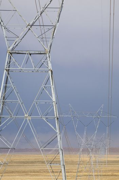 Electrical pylons in desert