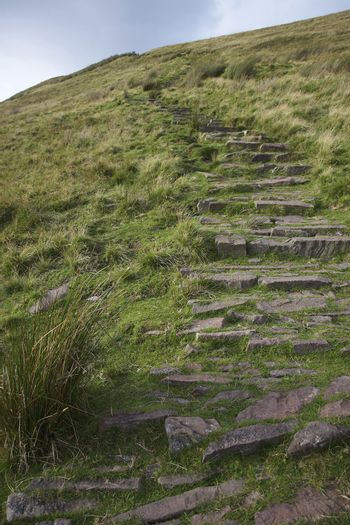 Stone path leading up hill