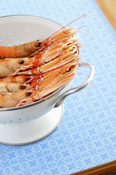 Shrimps in colander elevated view