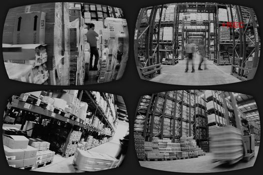 Four surveillance screens showing different views in industry