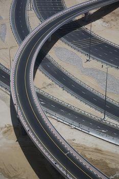 Highways crossing elevated view