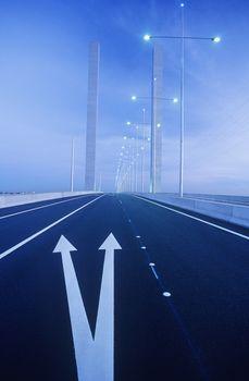 Road markings on freeway bridge Melbourne Australia
