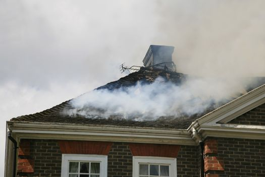 House roof on fire