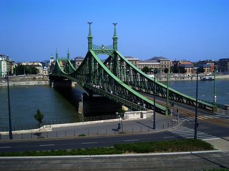 Indipendence Bridge over the Danube River, Budapest, Hungary