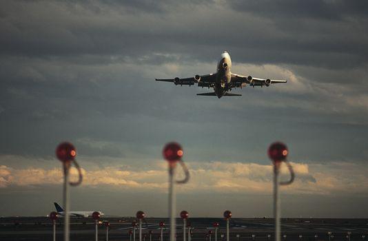 Airplane taking off Melbourne Australia