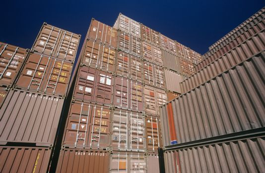 Shipping container in storage yard