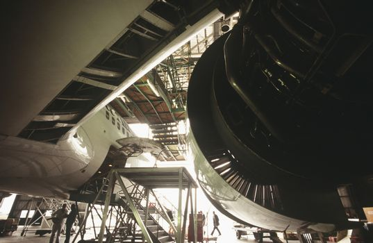 Aircraft engine in hanger
